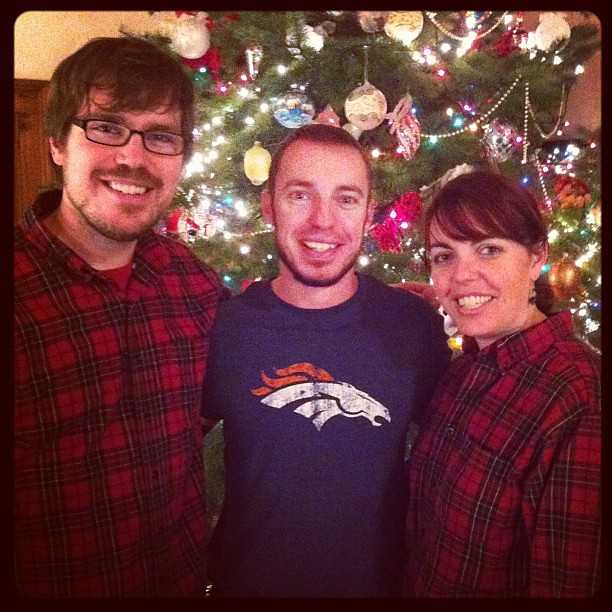 "Me & 2 of my ""little"" brothers this weekend. Super classy matching plaid. ;)"