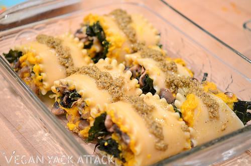 Butternut Squash & Mushroom Lasagna Rolls - Vegan Yack Attack