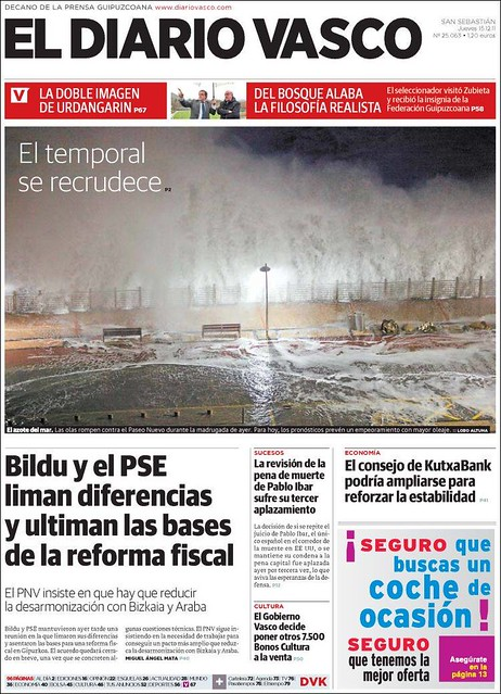 Portada El Diario vasco Temporal diciembre 2011