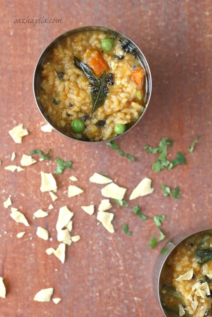 Sambar Rice Vazhayila -1
