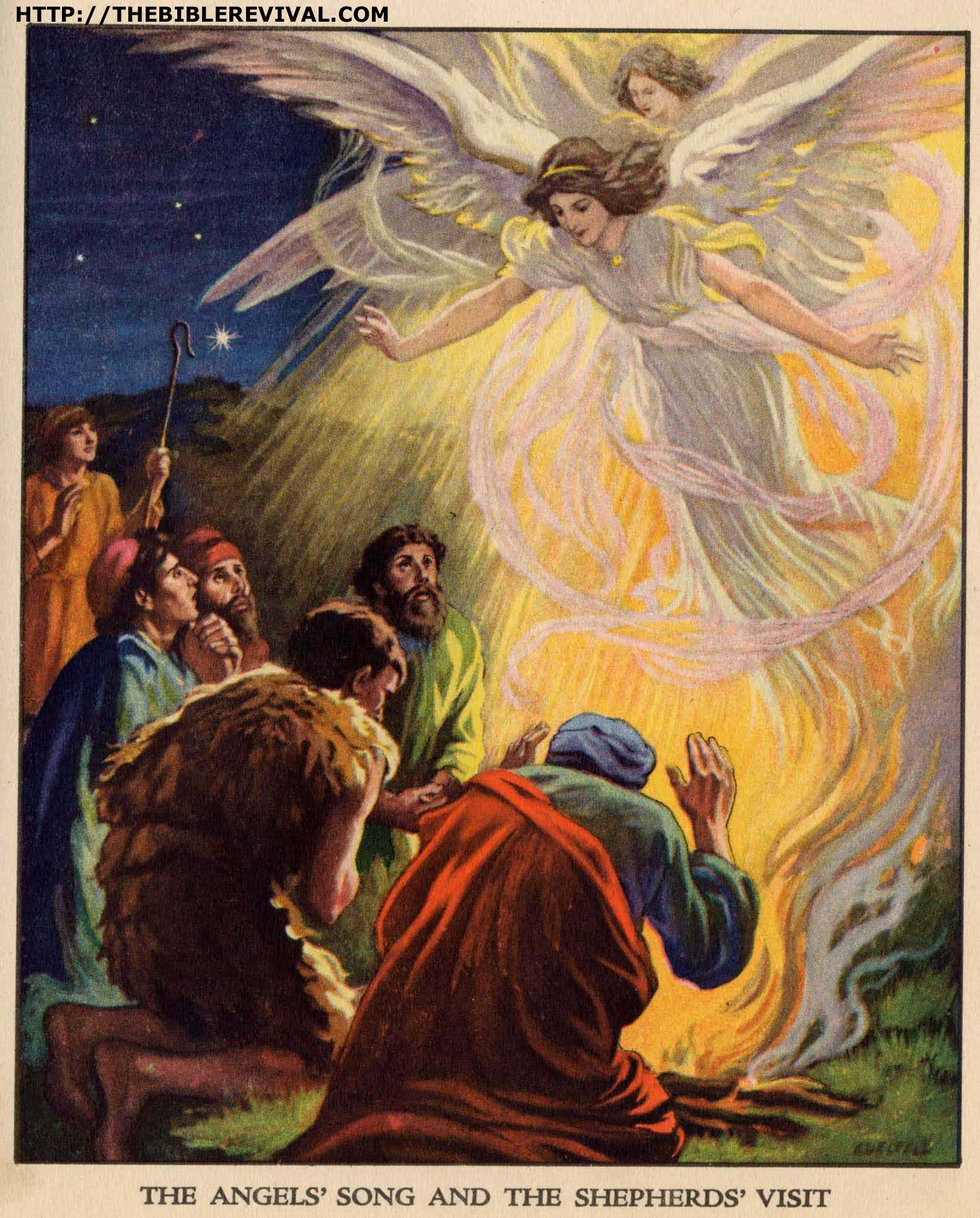 The angels 39 song and the shepherds 39 visit the angels for Angels announce jesus birth coloring pages