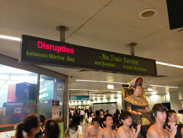 Train Disruption? It's okay, if you have your own entourage of muscle slaves to carry you around