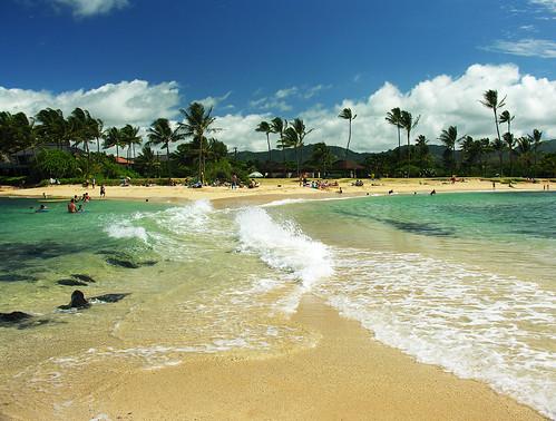 ocean beach hawaii sand kauai poipu poipubeach tombolo
