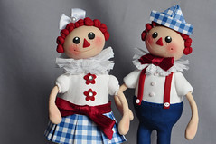 Raggedy Ann and Raggedy Andy suspenders drollgirl