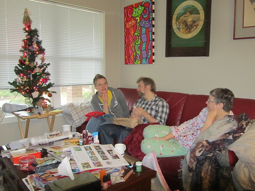 Opening presents at Tricia's mom's