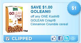 Kashi Golean Crisp! Cinnamon Crumble Cereal Coupon