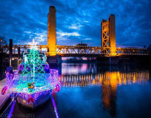 california christmas towerbridge canon reflections river landscape newyear christmaslights sacramento hdr sigma1020mm 2011 40d