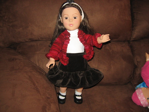 Doll with Sewn Skirt & Knit Sweater