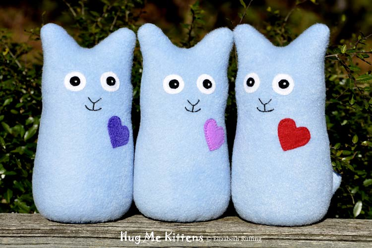 Light blue fleece Hug Me Kitten, original art toy by Elizabeth Ruffing