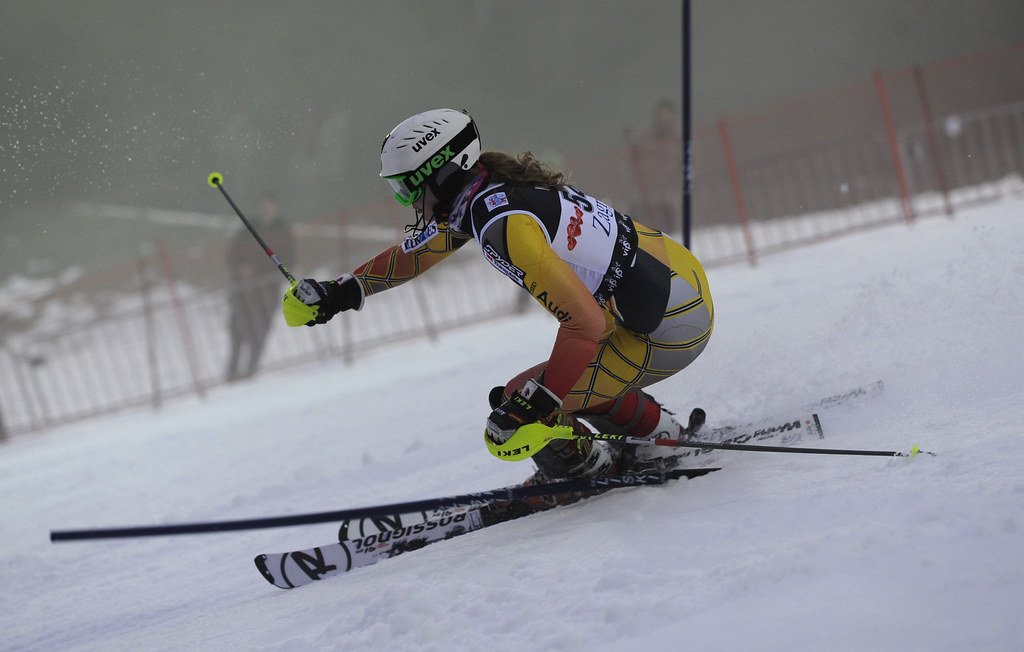 Madison Irwin in action in the Zagreb ladies' slalom.