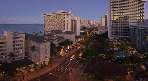 dusk over Waikiki, O'ahu, Hawai'i (panorama)
