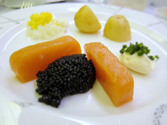 "Caviar and Balik Salmon ""Tsar Nicolaj"" with Garlic Bread on the side"