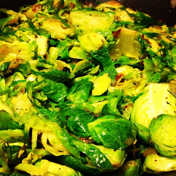 Brussels sprouts hash with caramelized onions and honey