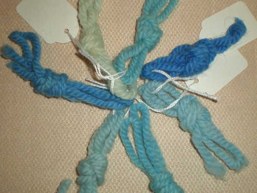 Blue yarn samples