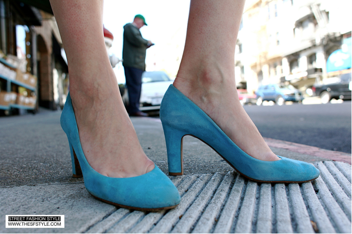 Blue suede pumps Jcrew