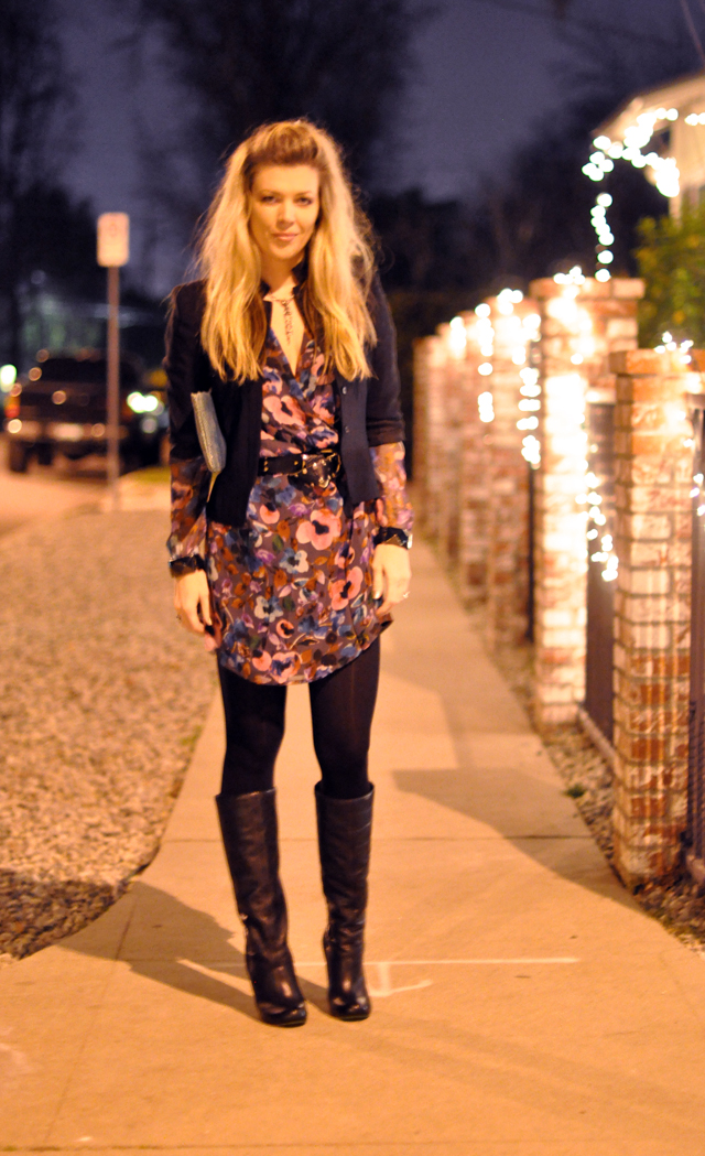 floral LAmade dress with black jacket and boots