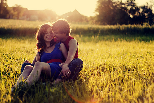 Good morning hug couple