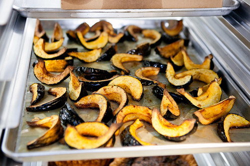 Tray of roasted squash