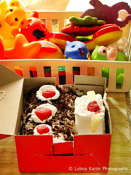 basket of toys....box of cakes........