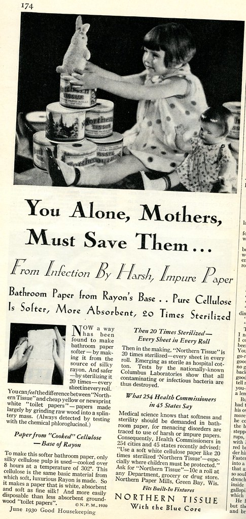 Northern Tissue (toilet paper) advertisement, 1930