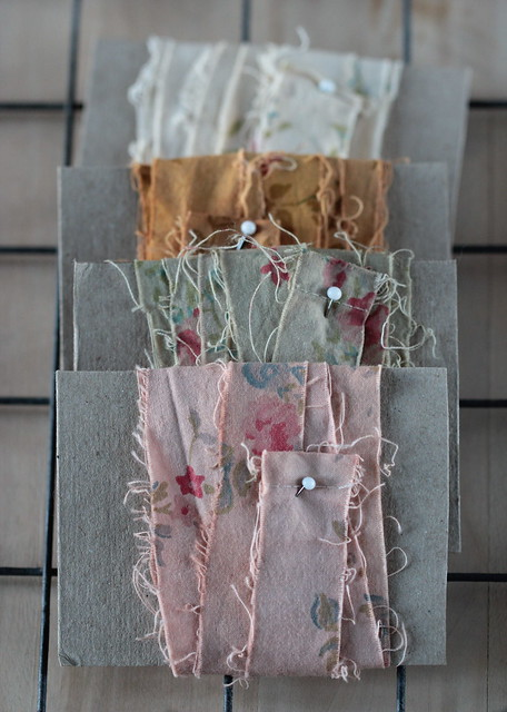 naturally dyed strips of fabrics