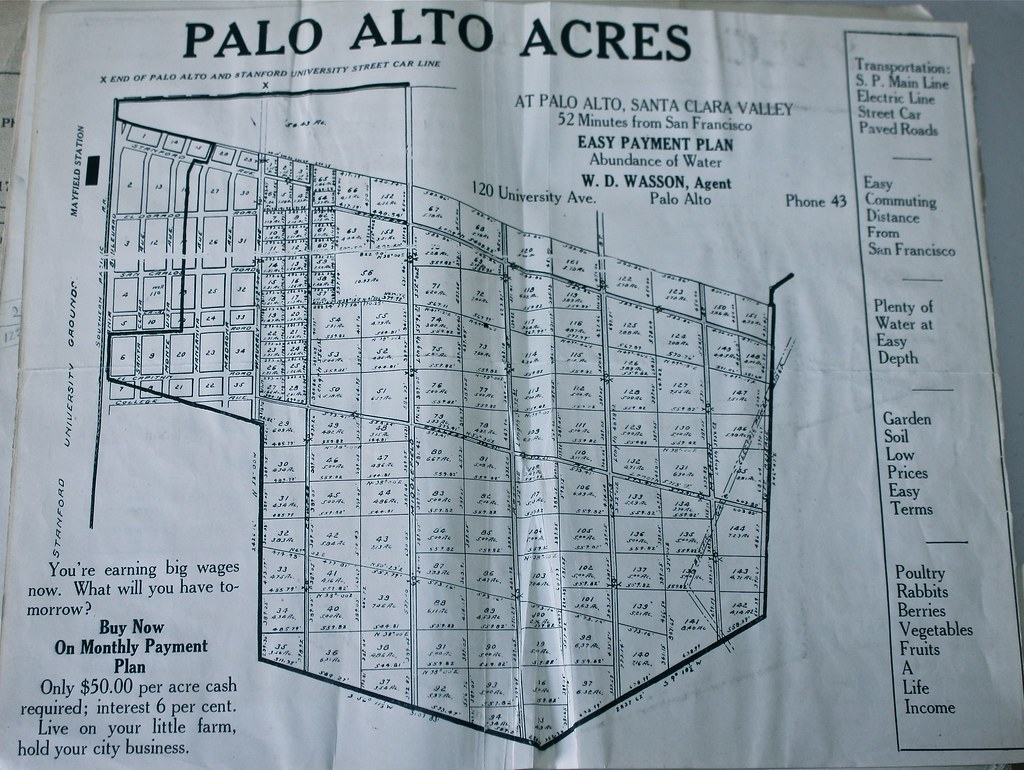 Palo Alto Acres Map from the 1919-20 City Directory