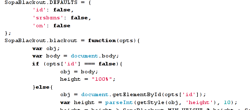 blackout.js code snippet