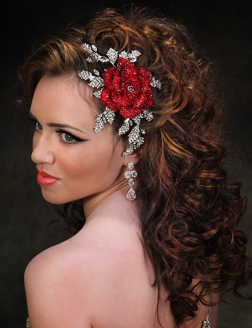 Bridal Styles Dramatic rose comb encrusted with red Swarovski crystals