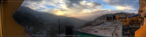 Mcleodganj Green Hotel sunrise panorama HDR