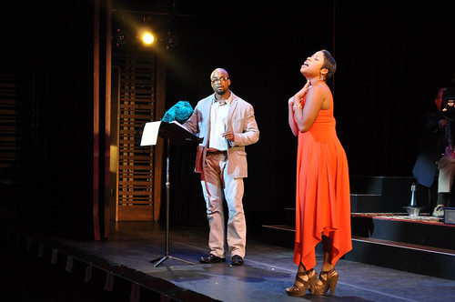 Terence Archie as Valentine and Eleasha Gamble as Silvia in the Shakespeare Theatre Company's Bard's Broadway production of Two Gentlemen of Verona, a rock opera, directed by Amanda Dehnert. Photo courtesy of the Shakespeare Theatre Company.