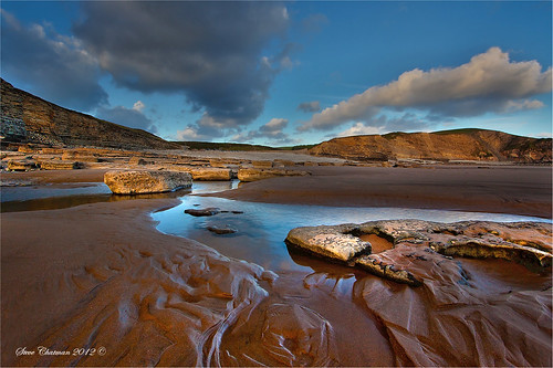 uk sunset beach pool southwales wales sand rocks cliffs hdr 2011 heritagecoast dunravenbay stevechatman