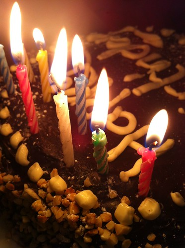Eight candles on the birthday cake