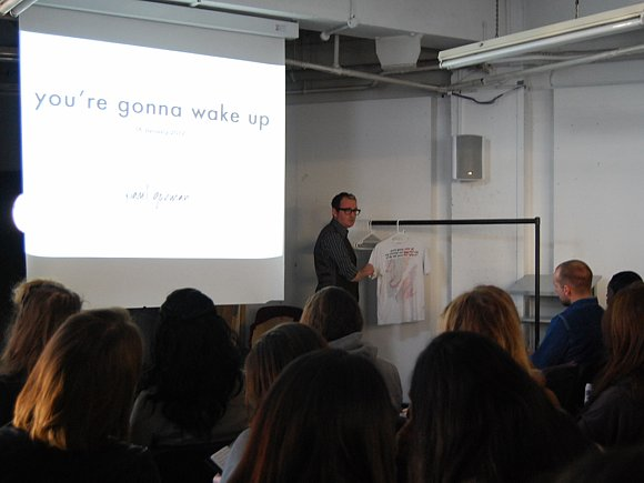 Talking about the You're Gonna Wake Up t-shirt at Saint Martin's Jan 2012