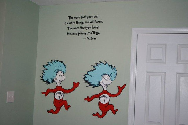 Dr seuss dr suess theme wallpaper wall paper art sticker for Dr seuss wall mural decals