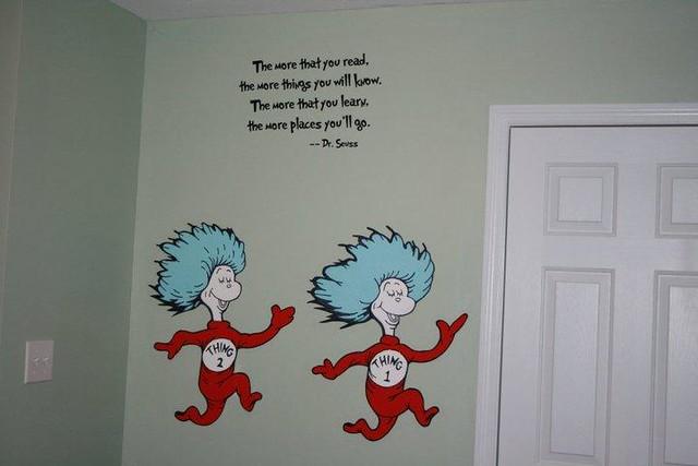 Dr seuss dr suess theme wallpaper wall paper art sticker for Dr seuss wall mural