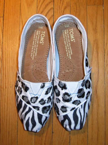 Custom TOMS shoes with Zebra & Leopard Print Design