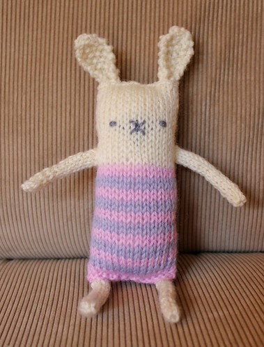 stripey knitted bunny softie