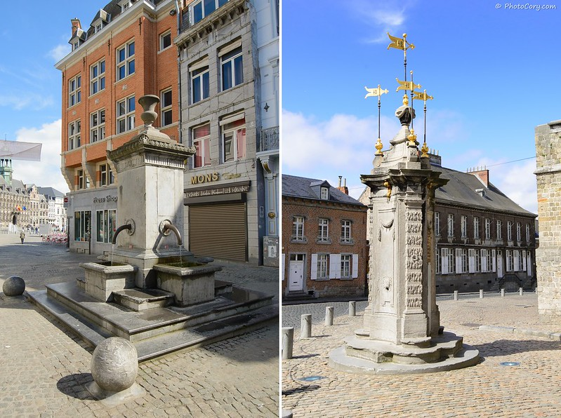 Old fountains - fontainte pillory and Red Well (Rouge Puits)