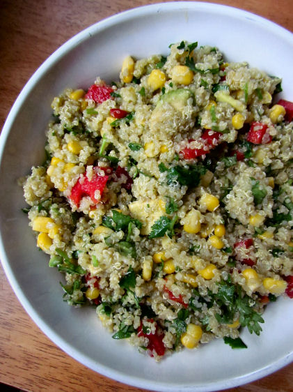 Corn and Avocado Quinoa Salad with Red Pepper and Cilantro