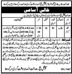 Anti Terrorist Court Sargodha Steno Required