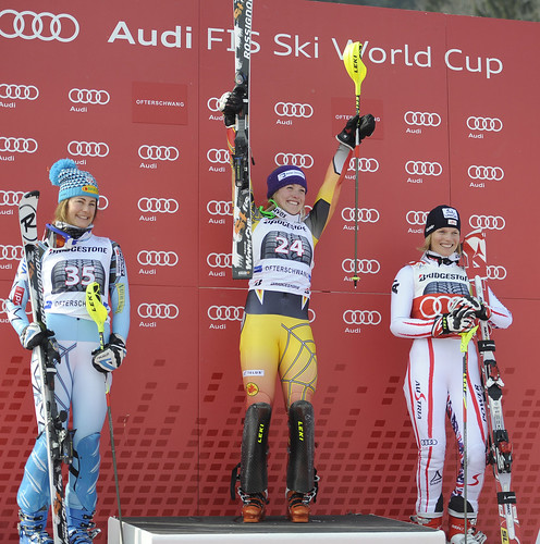 Erin Mielzynski wins the ladies' World Cup slalom in Ofterschwang, Germany.