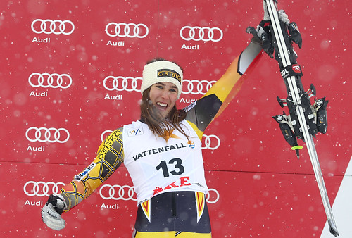 Marie-Michèle Gagnon on the World Cup podium in Are, Sweden.