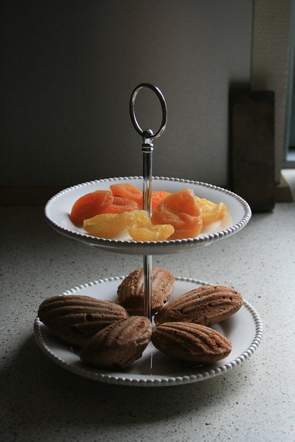 chocolate madeleines and dried  fruits