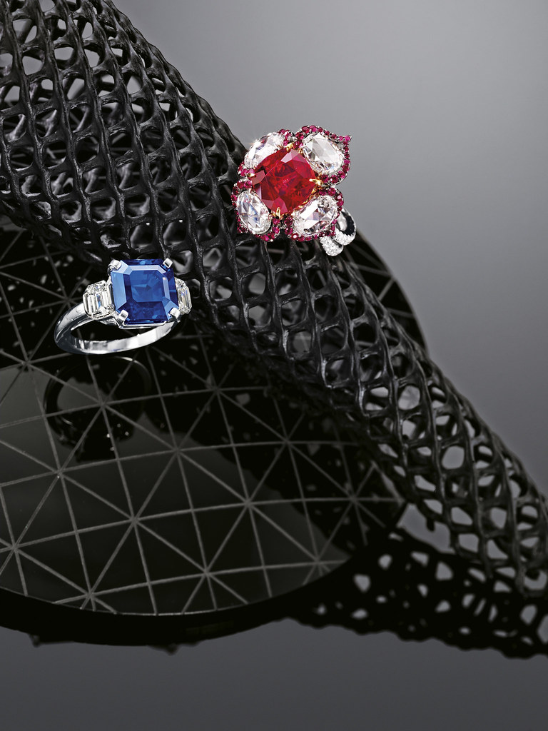 5.01-ct Burmese Ruby and Diamond Ring and 8.65-ct Kashmir Sapphire and Diamond Ring.jpg