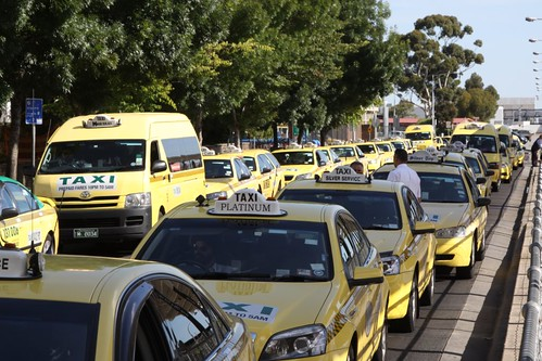 Queue of taxis at Melbourne Airport