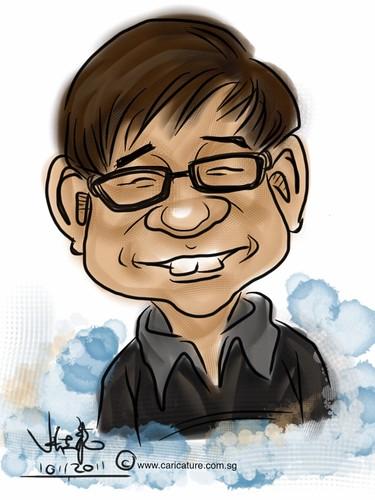 digital live caricature sketching on iPad Sketchbook Pro of Eddie Quek