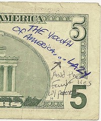 Youth of America graffiti on $5
