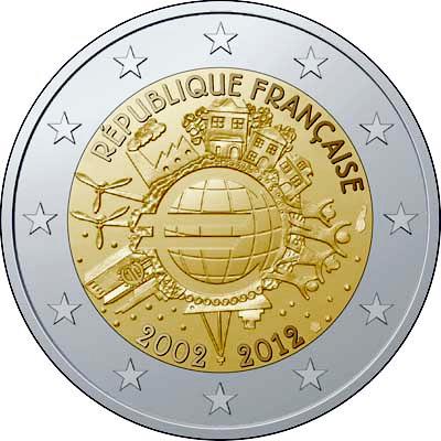 2 Euro Francúzsko 2012, 10. výročie zavedenia Eura