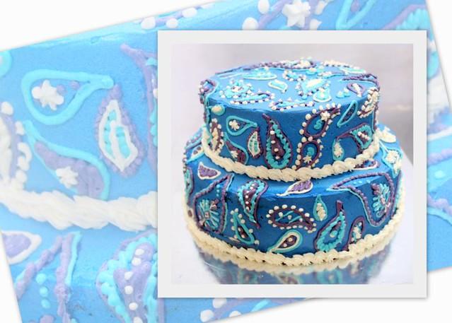 Blue Paisley Print Cake Flickr - Photo Sharing!