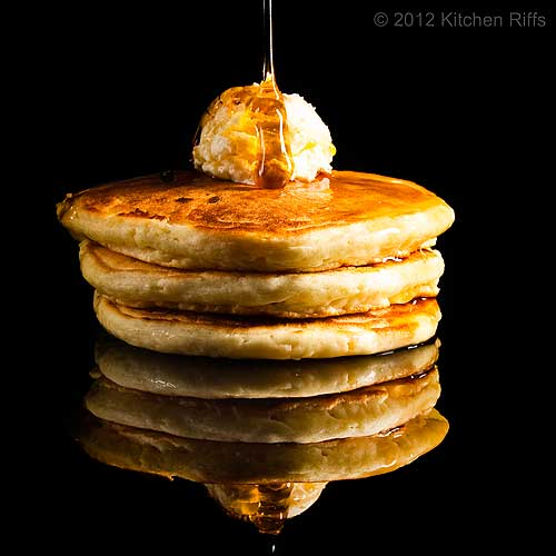 Pancakes on Black Acrylic with Pouring Syrup